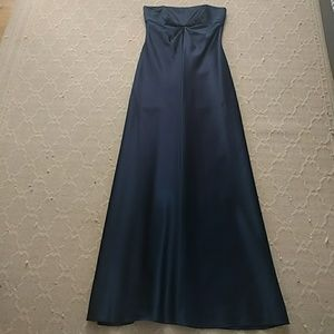 Blue strapless evening gown